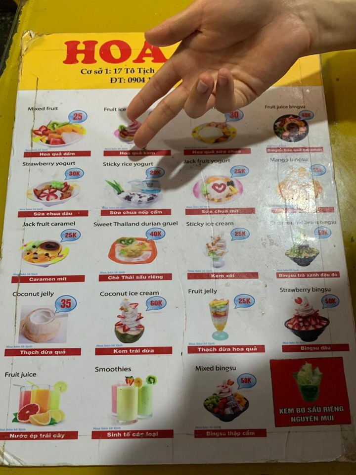 Menu of Hoa beo dessert shop